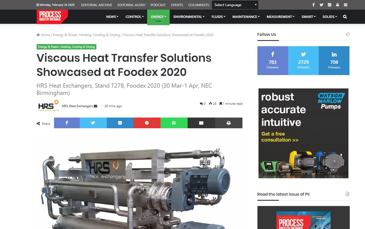 test Twitter Media - At #Foodex 2020 stand T278, HRS Heat Exchangers will showcase its range of #heatexchangers and turnkey #foodprocessing systems aimed at eliminating heat transfer challenges for #viscous food products. Read more as featured in @Piimag : https://t.co/4g9JhELo1a https://t.co/iJbqcKjQV0