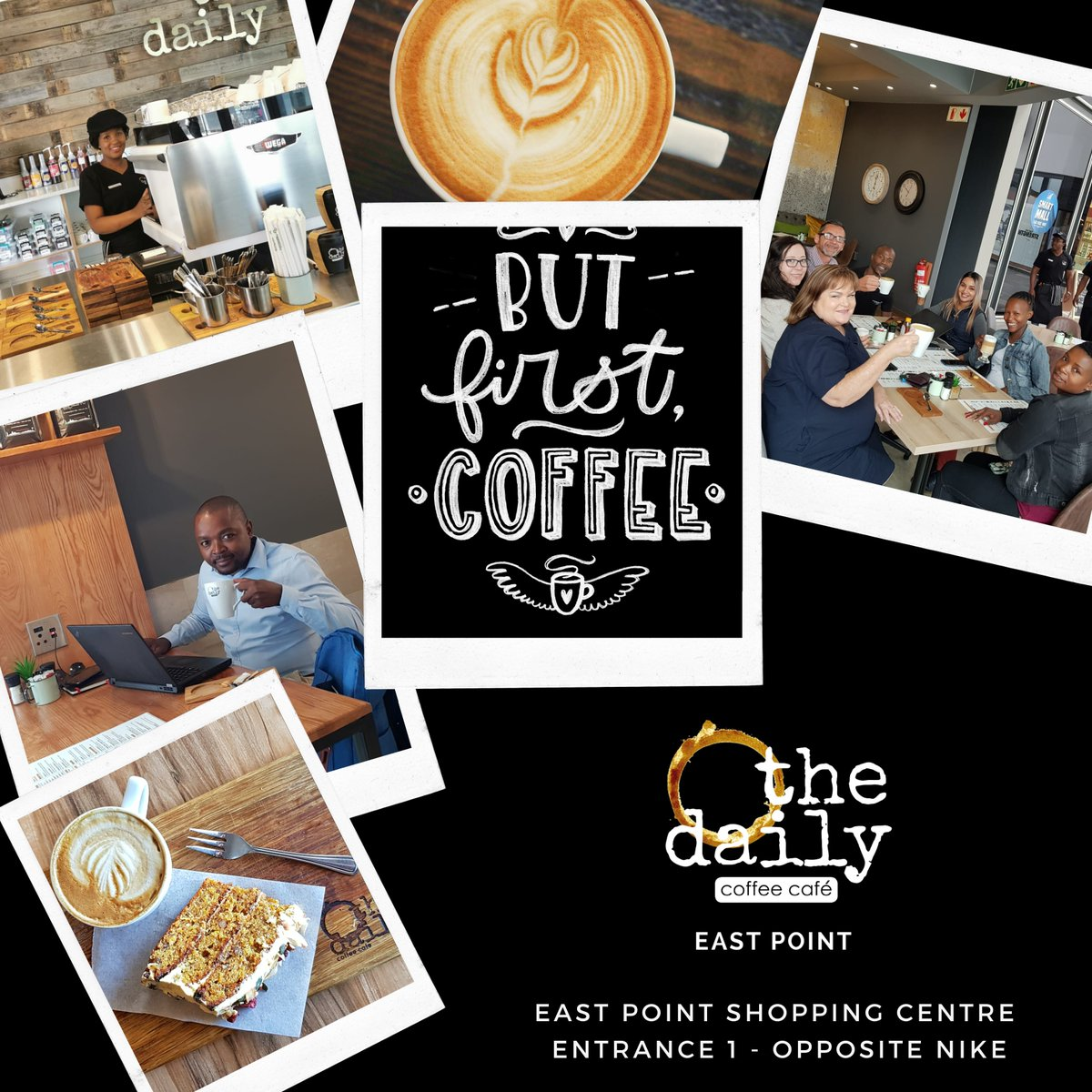We are open! Sit back, relax and enjoy a cup that's been freshly brewed by your friendly barista at The Daily Coffee Cafe. #boksburg #coffeetime #coffeelover #coffeeshop @eastpointshopping