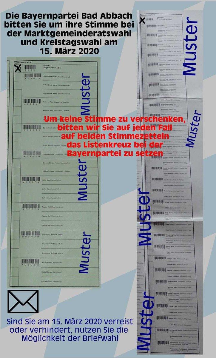 Die Bayernpartei Bad Abbach bittet Sie um Ihre Stimme bei der Marktgemeinderatswahl und bei der Kreistagswahl. Bitte gehen Sie am 15. März 2020 zum Wählen! pic.twitter.com/FfNVzPYMMV