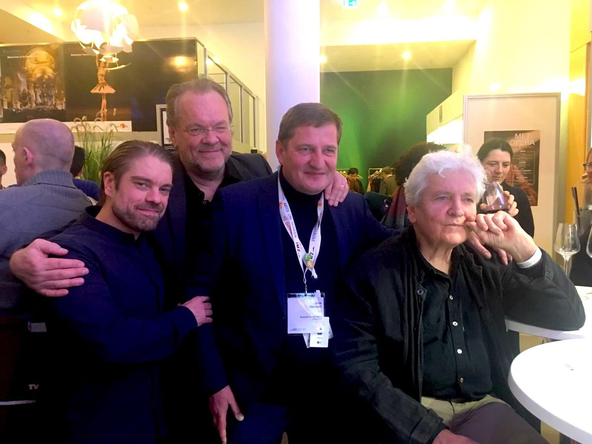 """The filmmaking team of """"The Zurich Liaison – Wagner's One And Only Love"""" from left to right: Finnish actor Joonas Saartamo, opera singer Michael Volle, director (and CEO of Syquali Crossmedia) Jens Neubert and cinematographer Harald Gunnar Paalgard. #IMZ #APMMMBpic.twitter.com/NiktoNKkfT"""