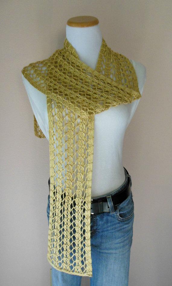Gold Scarf Hand Knit  via @EtsySocial #etsymntt #handmade #gold #lacescarf
