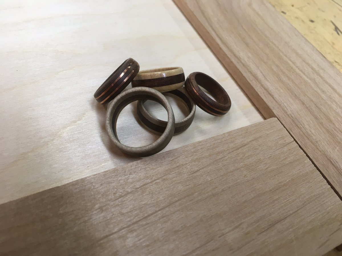 Some of the laminated maple and walnut rings with copper inlays.  Students enjoyed making these on the lathe.