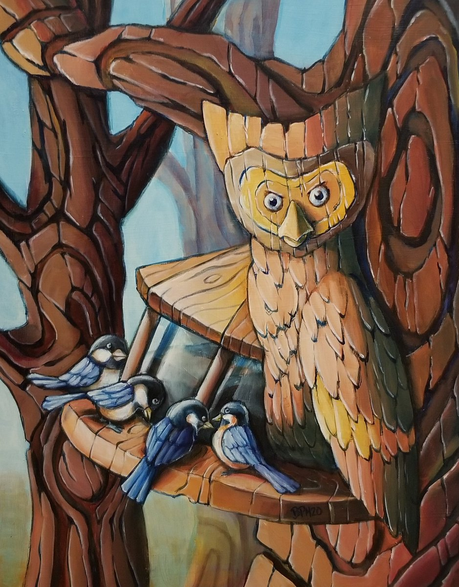 The Wood-Cutter Owl. Grab a poster, etc: http://redbubble.com/people/byronmcbride … This is now one of my favourite paintings now.  You can see it at @NOAartshow next month and @yegartwalk this summer!  #owl #nature #painting #art #artist #canada #Edmonton #yeg #canadiancreatives #ArtistOnTwitter
