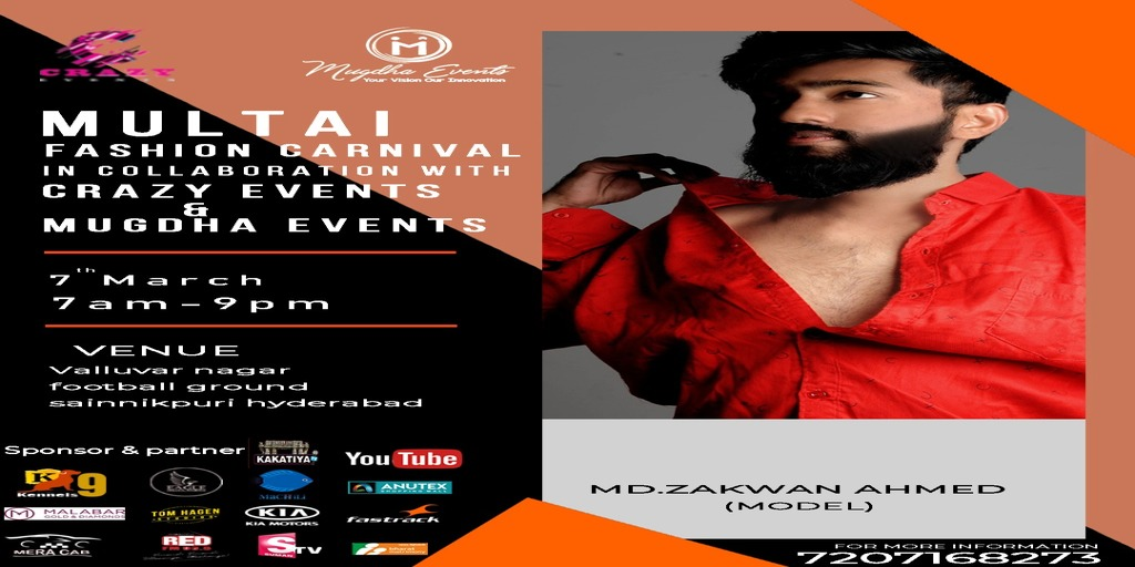 Multai Fashion Carnival on 7Th March 2020 - Mugdha Events  For more details, can contact 7207168273  #mfc #mfchyd #zakwanahmed #multaistudios #multaifashioncarnival #fashioncarnival #models #fashion #fashionshow #celebrity2020 #fashionweek #rampwalk #guestofhonorpic.twitter.com/cYrytkMHtB