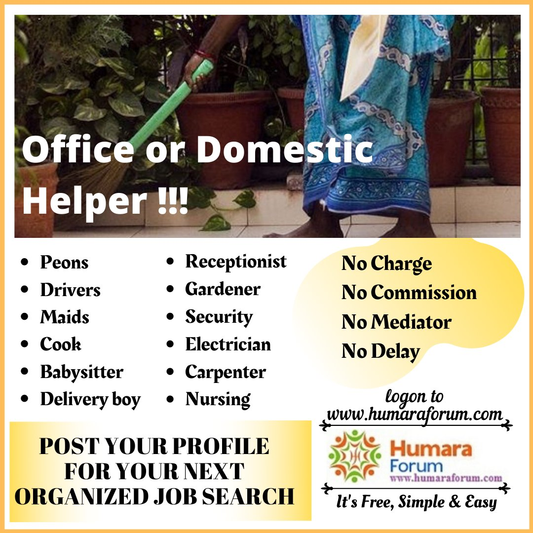 People #working as #office or #domestic #helper now have a #free #job #portal for their #organized #job #search where #candidates can #post their #profile #accessible by our users to #hire them. It's totally free, no hidden charges. #Refer our #free #platform to all helpers.pic.twitter.com/LjVUfFPnIb
