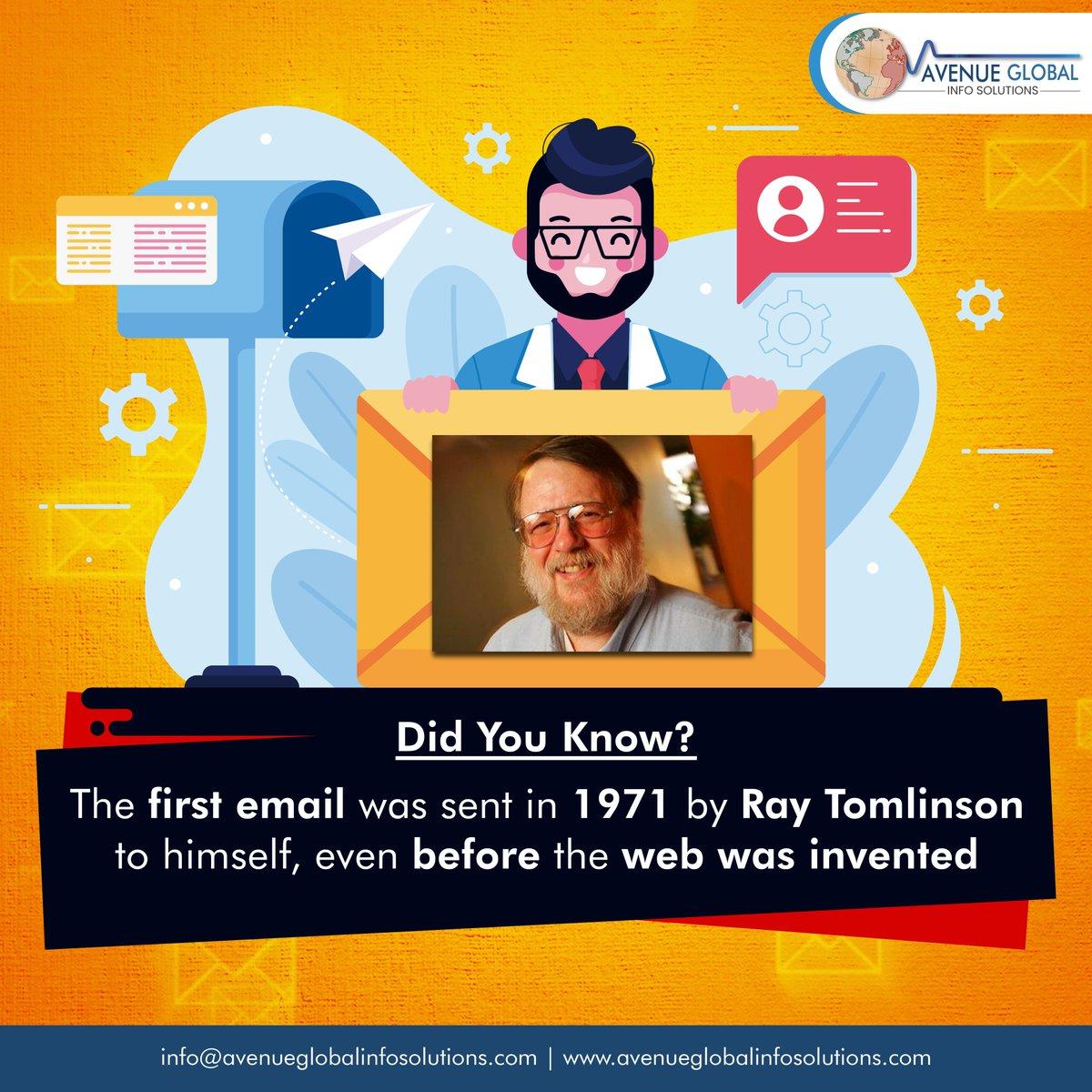 Did You Know?  #Didyouknow #email #RayTomlinson #EmailMarketing #webdesigncompany #websitedeveloper #webdesigntips #instatech #socialmediamarketing  #avenueglobal #AGIS #Webdesigning #Digitalmarketing #Websitedevelopment #websitebuilder #ITcompany #Punepic.twitter.com/sBsiwM5889