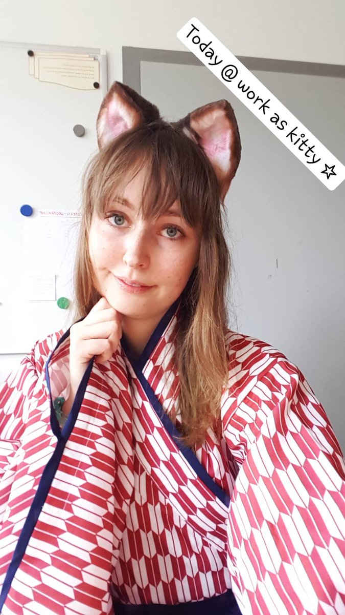 On monday we celebrated carnival at the Kindergarten. I put in my Chocola ears & tail & my japanese clothes. In the noon I switched to casual clothes & my Red Panda ears. ♡  #selfie #cute #catgirl #nekomimi #educator #lifegoal #japaneseclothes