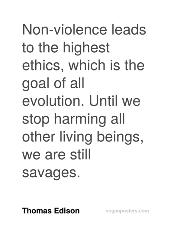 Non-violence leads to the highest ethics, which is the goal of all evolution. Until we... - Thomas Edison #vegan