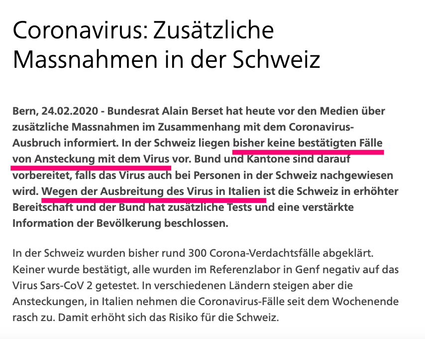 Because of the spread of #coronavirus #COVID19 in Italy, Switzerland is in standby and the federal Govt has decided to conduct additional tests and provide the population with more information @BR_Sprecher https://bit.ly/3c6aDeM pic.twitter.com/FOGhCDQg4S