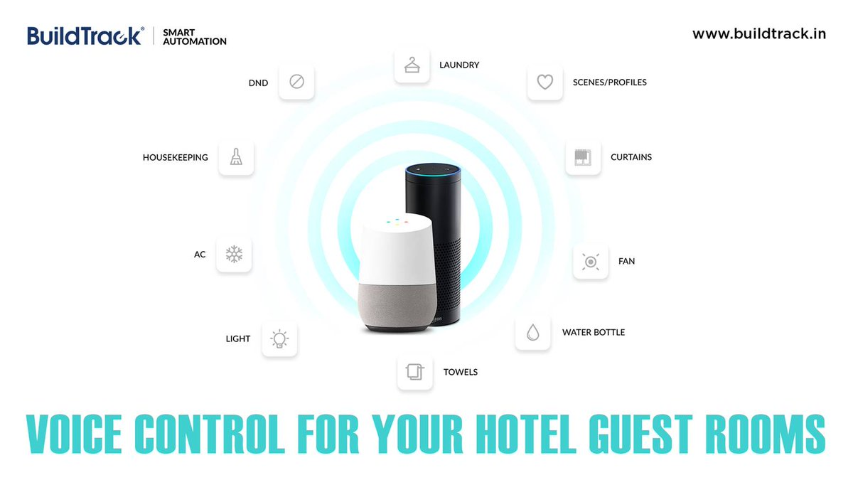 Hotel Guests can control all room feature via voice assistants. https://www.buildtrack.in/hotel-automation… #BuildTrack #SmartAutomation #IoT #HotelAutomation #VoiceAssistants #Technologies #SmartFeatures pic.twitter.com/4hqDsbFZx2