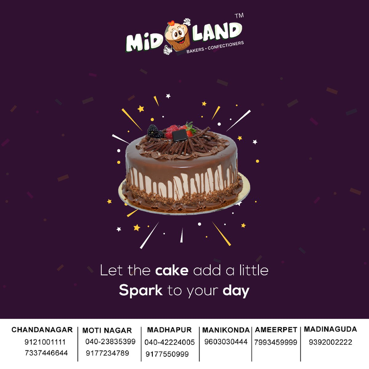 All you need to brighten your day with a Cake!  Visit our website:  #yummy #delicious #food #foodie #dessert #pastries #cakes  #Chocolate  #chocolatecake #midlandbakers #hyderabad