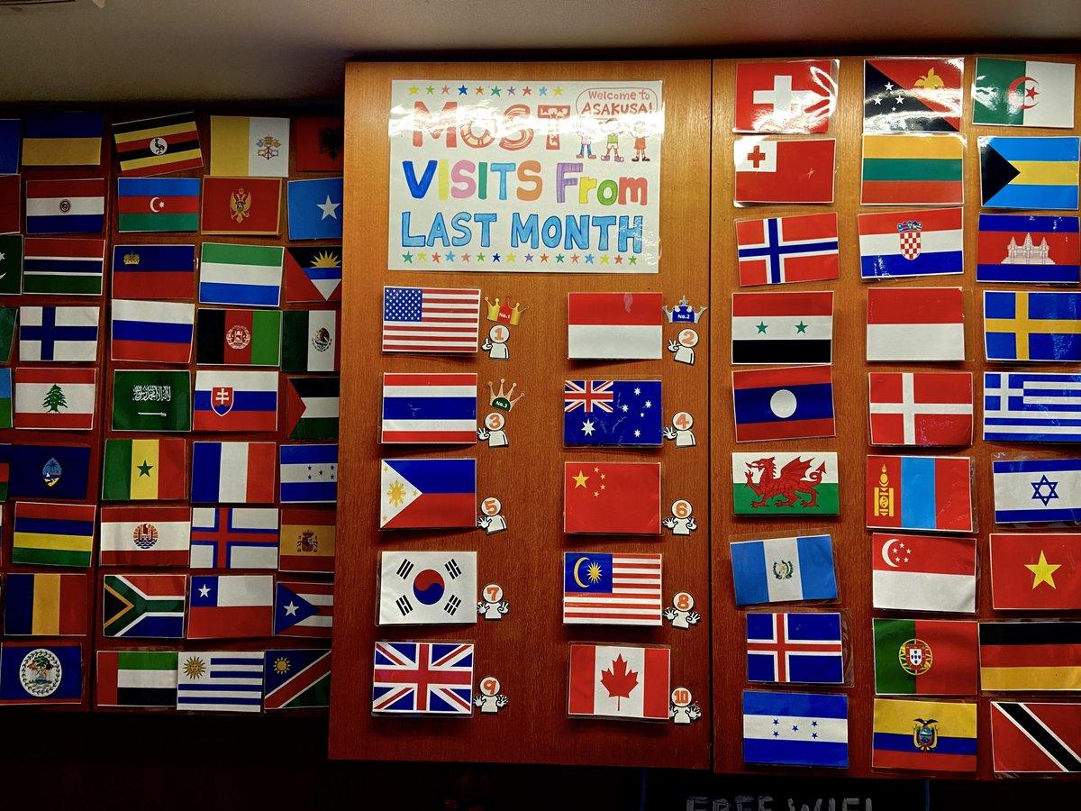 サクラホステル浅草のフロントでは、先月最も来てくれたゲストの出身国をランキング形式に張り出しています!先月の1位はアメリカ!🌎✨ありがとう~💓 #サクラホステル #浅草 #国旗 #アメリカ