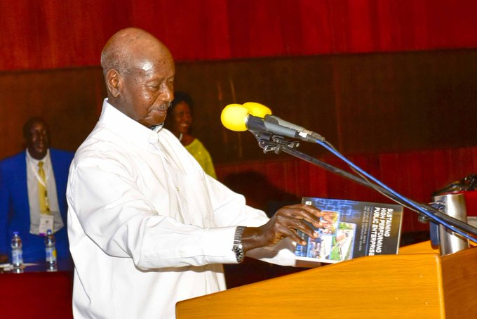 """President #Museveni launches Eng. Dr. @NWSCMD Silver Mugisha's book, """"Sustaining High Performing Public Enterprises"""" at the 20th African Water Association (#AFWA) International Congress at Serena International Conference Centre. http://edge.ug/2020/02/25/museveni-launches-dr-mugisha-book-at-water-summit/… @nwscug #AFWAUg2020"""