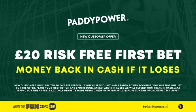 Paddy Power boost all of our Smart Accas so our followers can get the best value   Bet £20 and get your full stake back in CASH if your bet loses!   Simply join HERE >>> http://footy.ac/20PPRiskFree   New Customer Offer T&C's Apply 18+ begambleawarepic.twitter.com/DGNF6rE2El