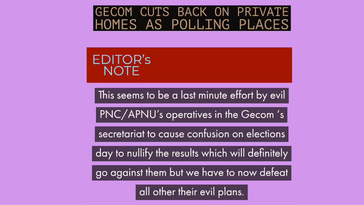 GECOM cuts back on private homes as polling places. For More Info visit http://www.1953movement.com & also follow us at 1953 Movement. #1953movement #election #elections #election2020 #guyana #guyanese #georgetown #trump #vote #polling