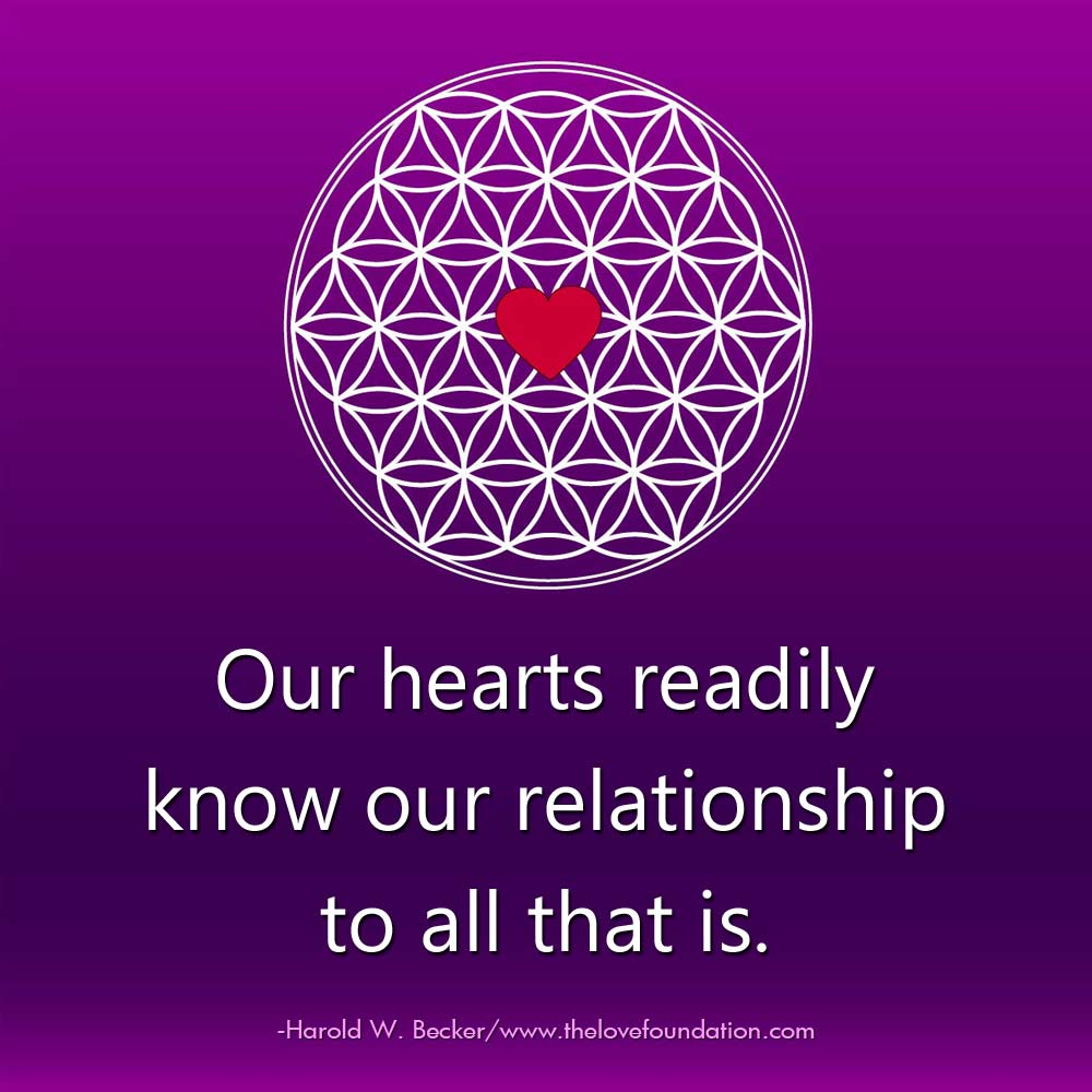Our hearts readily know our relationship to all that is.-@haroldwbecker #UnconditionalLove pic.twitter.com/qA45TQxcCy