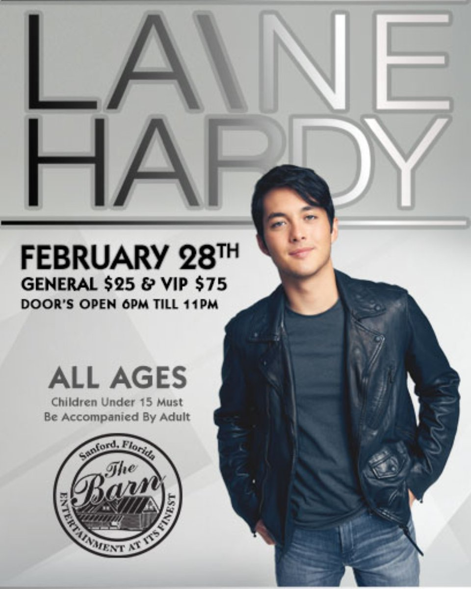 THIS FRIDAY !!  GET YOUR TICKETS !  @TheLaineHardy  #partywithaHardy #AllAges #TheBarninsanford #KidFriendlyEvents #MeetandGreet #LaineHardy  #AmericanIdol #Fans #Likes #Tags #Sharepic.twitter.com/ubS9vcRrSg