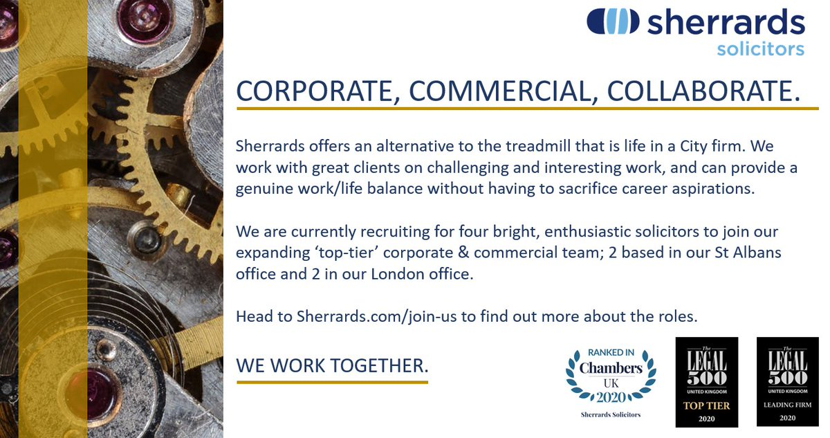 Sherrards Solicitors are now recruiting💼👀 They are on the look out for 4 new enthusiastic solicitors, a solicitor with 3-4 years experience and a finance assistant to join their team! Do you think you've got what It takes? 🕺 #StAlbans #London #Careers #Law #Legal