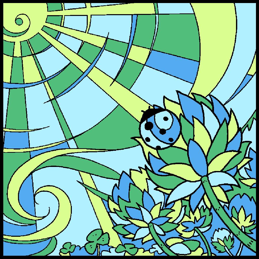 No.10「てんとう虫クローバー」#塗り絵パズル #ハム塗り絵