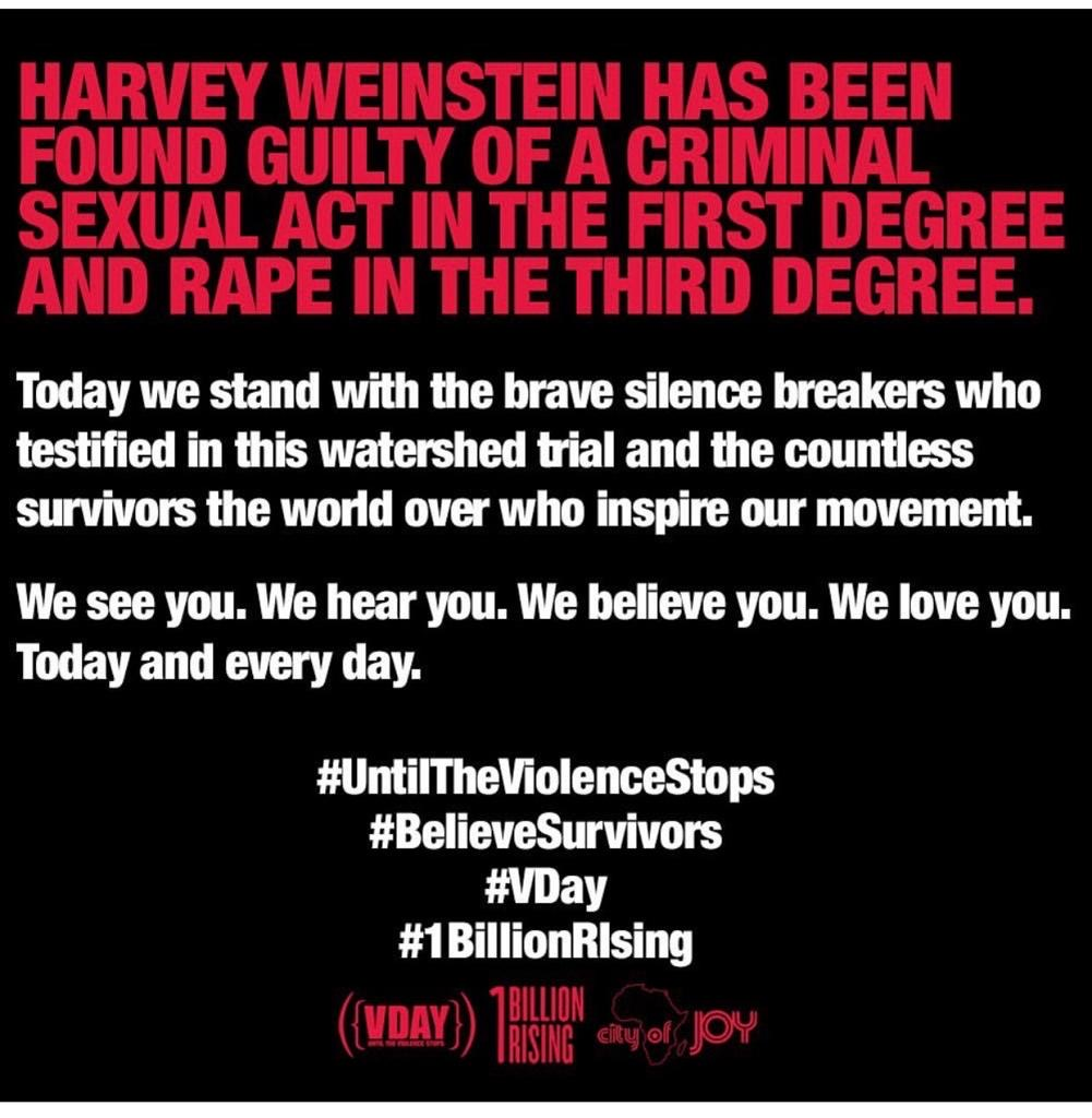 We see you. We hear you. We Believe you.  We love you. Today and every day. #UntilTheViolenceStops #VDay #1BillionRising