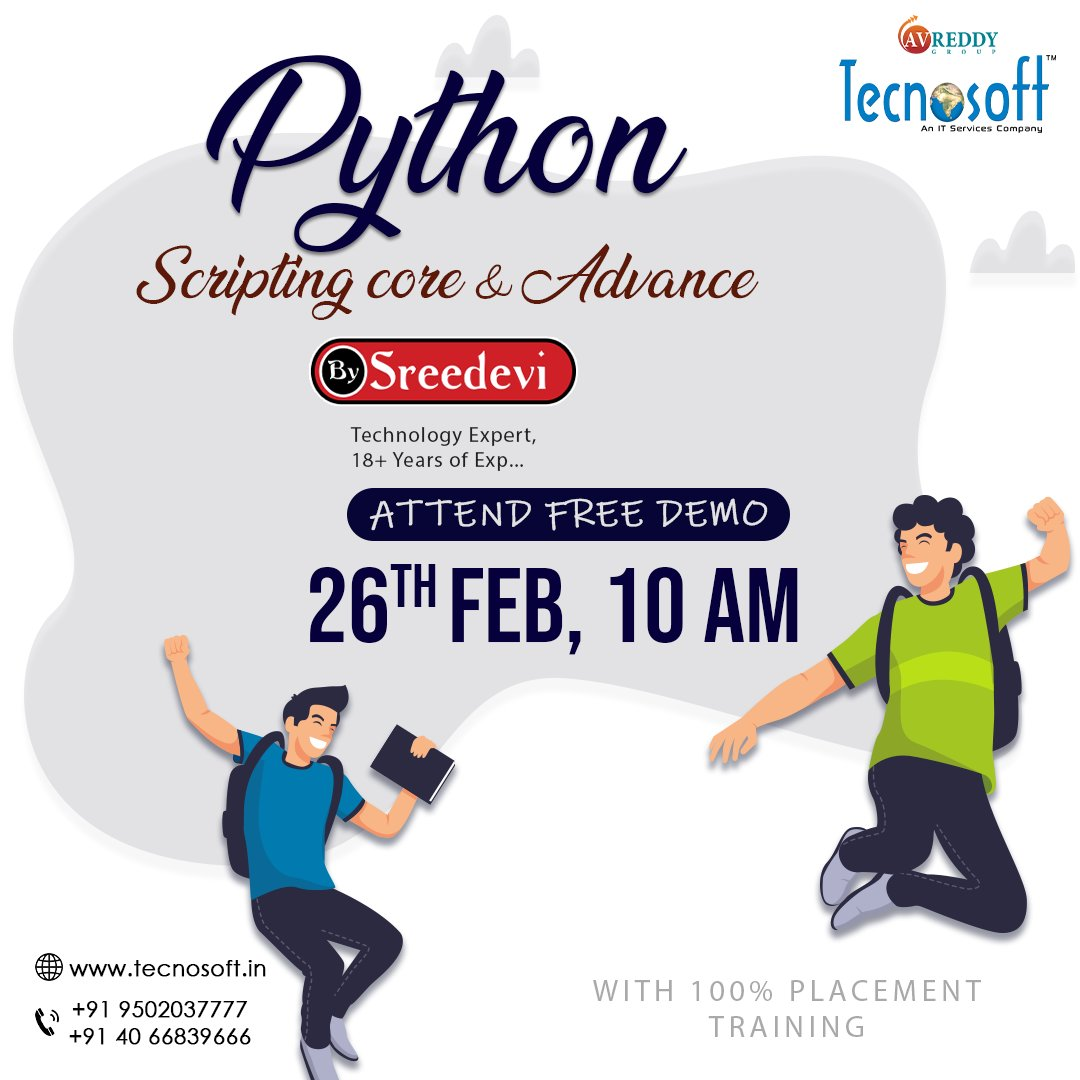 Study Python Scripting Core and Advance and become the best coder in the industry. Come and check for yourself with our free demo on 24th Feb, 10 am. Enroll here for free demo:  https://bit.ly/2uc3Uz8   #Tecnosoft  #PythonScripting  #core  #advance  #classroomtraining  #Freedemo