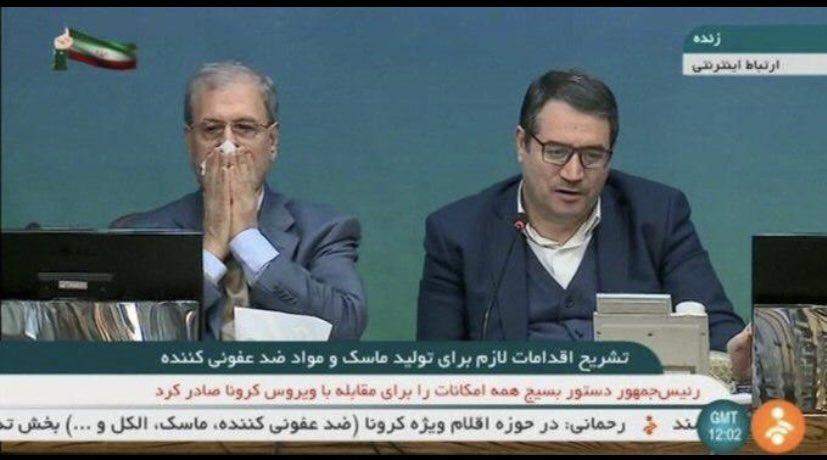 ועכשיו: חשד שדובר ממשלת איראן חלה בקורונה (תמונה מהיום), ואולי גם הדביק את שר התעשייה שעמד לידו
