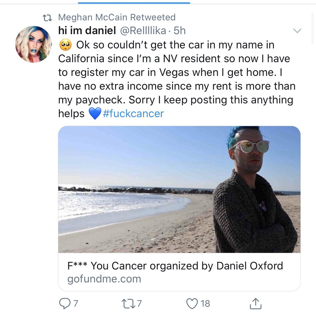 The irony of @MeghanMcCain being to adamantly anti-socialism, anti-Sanders and anti-universal healthcare... while retweeting gofundme's to get people healthcare and pay healthcare bills is not lost on me. pic.twitter.com/4XZGO1uUd0