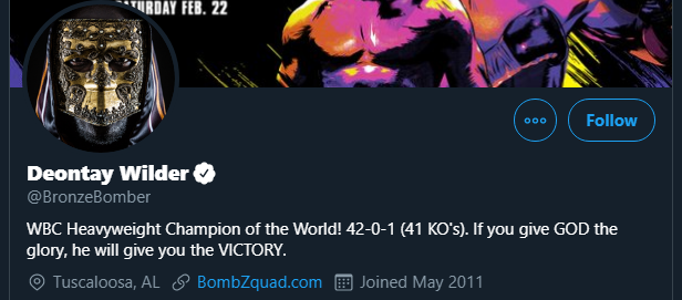 """.@BronzeBomber Shouldn't that say """"former WBC...""""? Sort it out."""