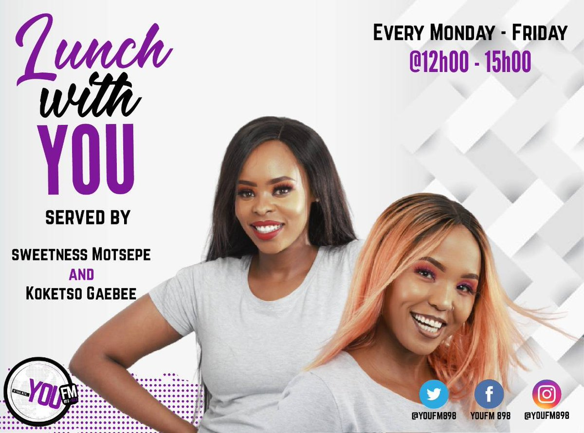 Happy #ChooseYOUDay 🙂  Choose to be happy with @SweetnessEhm @Just_Koketso on #LunchWithYOU  IN TUNE WITH YOU  DSTV Channel 842  #CelebratingYOU #YOUInspireUs