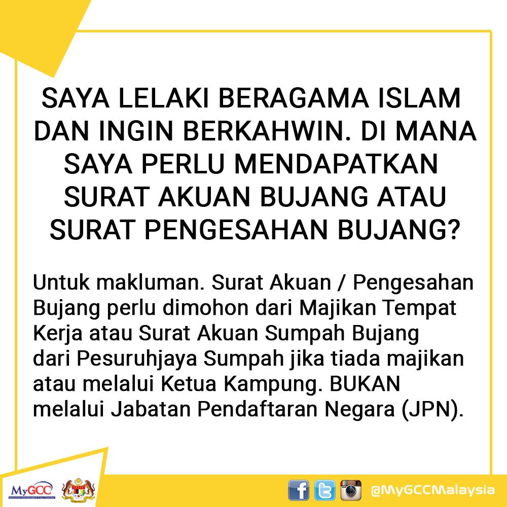 ο χρήστης Mygcc στο Twitter Saya Lelaki Beragama Islam Dan Ingin Berkahwin Di Mana Saya Perlu Mendapatkan Surat Akuan Bujang Atau Surat Pengesahan Bujang Mygcc Mampu Jpm Https T Co 9xvs4usoxl
