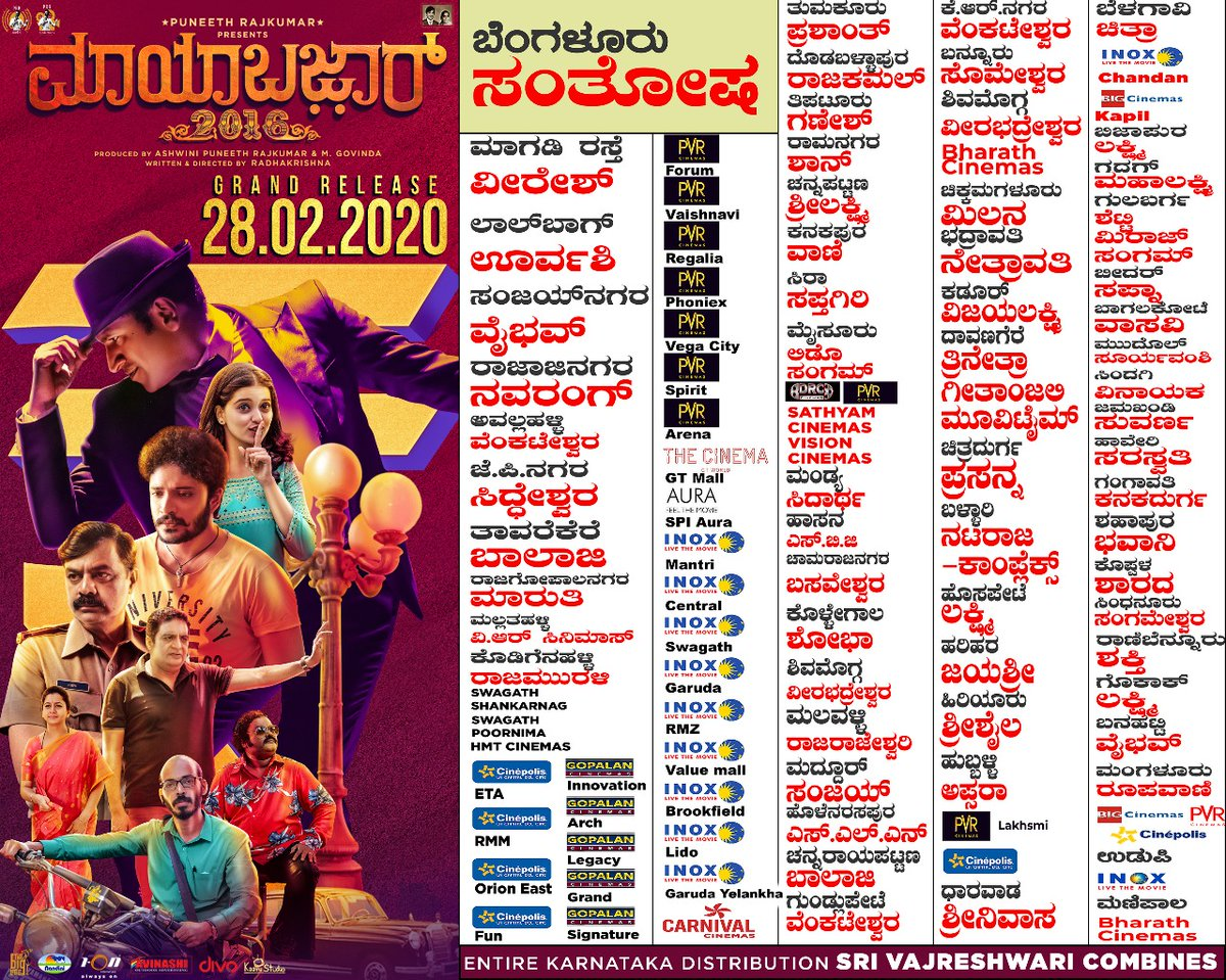 Theater list for #Mayabazar releasing this Friday 👍🏼