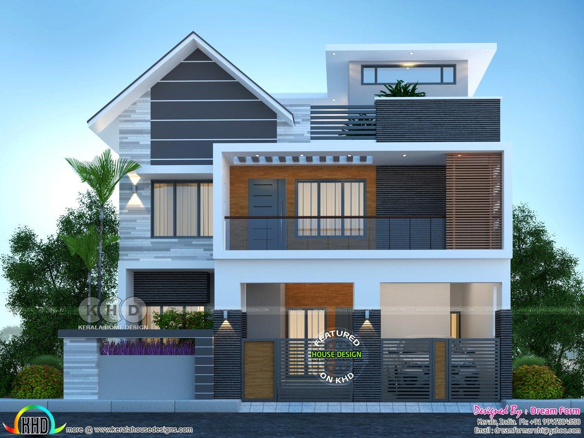 Kerala Home On Twitter Modern Mixed Roof House Plan Https T Co Xr7emcn1va