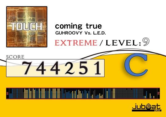 coming trueをプレー! Score:744251 #jubeat_plus むじゅい
