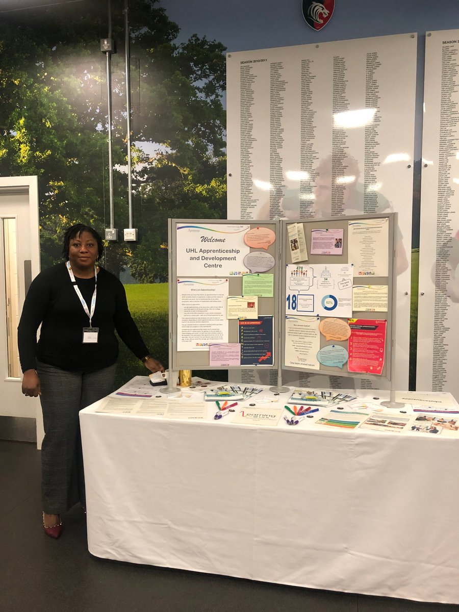 The @LearningUHL team are holding at stall @LeicesterTigers as part of the event organised by  @LeicResearch. If you are there, why not visit Kate at the #apprenticeship stall! Find out more about apprenticeships or take on a challenge and enrol. #LRLive20 #ChallengeAccepted