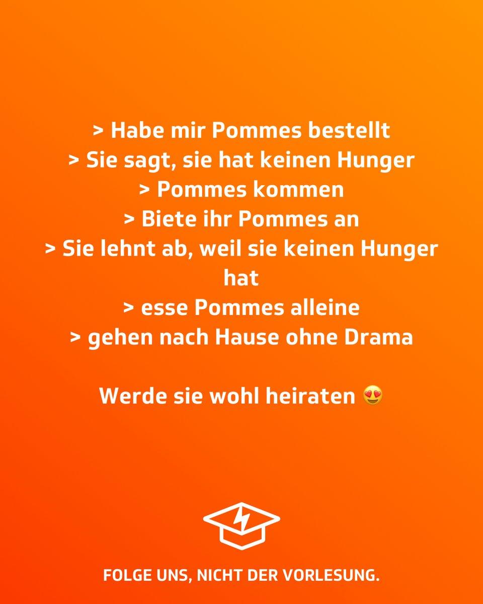 Traumfrau!  #studentenstoff #pommes #traumfrau #heiraten #essen #hunger #hungrig #studentenleben #hochschule #studieren #lernen #studenten #dualerstudent #universität #studium #jodel #jodelapp #bestofjodel #jodeldeutschland #sprüche #spruchpic.twitter.com/TNiDOr8tK6