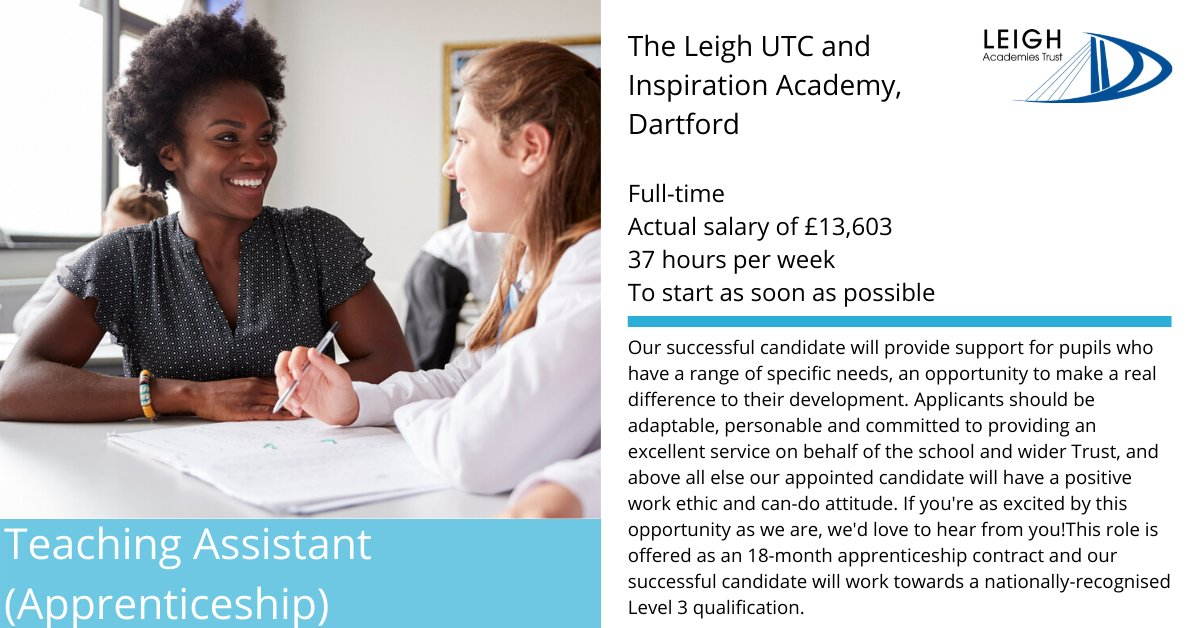 For more information and to apply: https://buff.ly/2vjAb7o  #TeachingAssistant #TA #Apprenticeship  #Dartford #Careers