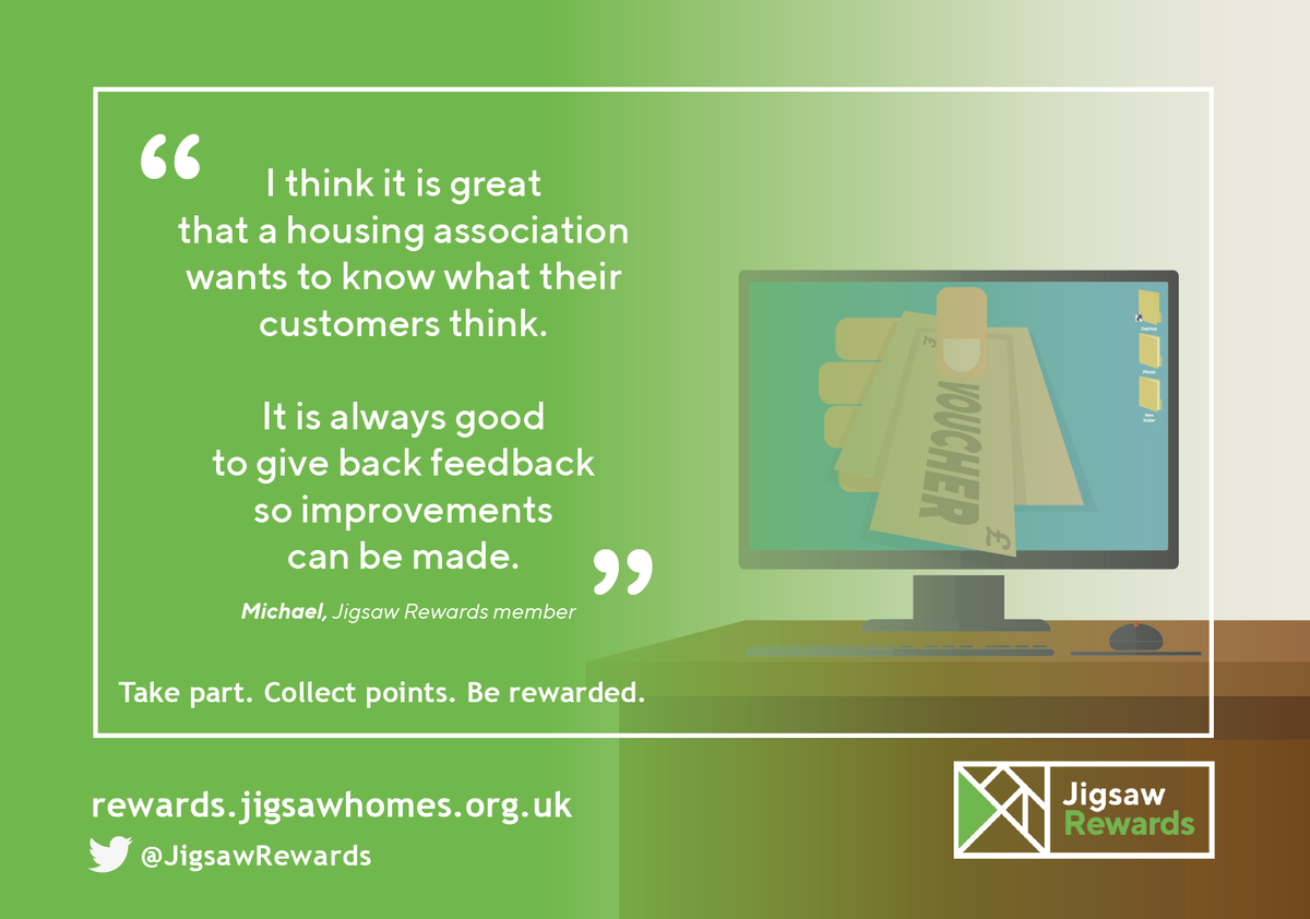 Here at #JigsawRewards we value our #Tenants feedback and reward our #Tenants with points, and what do points make ……. #RentCredits and #Vouchers #Thankyou Michael for sharing your thoughts  #TakePart #CollectPoints #BeRewarded #JigsawRewards https://t.co/ozX98lJsNm
