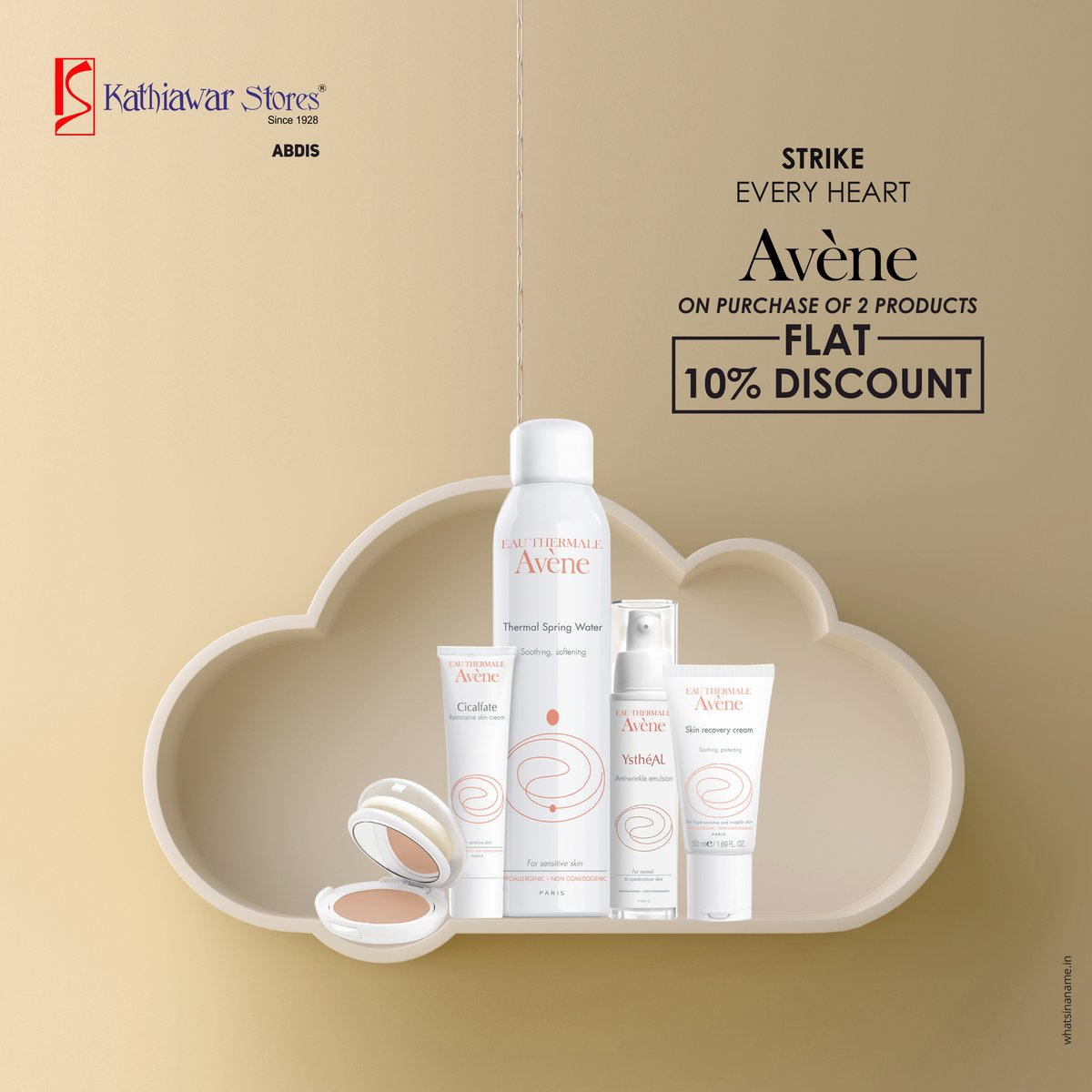 On purchase of any 2 Aveneproducts, get 10% off. Limited period offer at our Abids branch. Visit us soon.   #Avene #kathiawarstores #hyderabad #beautyshopping #Offers #Kathiawar #KathiawarStores #LatestTrends #Fashion #Trends#Beauty #Branded