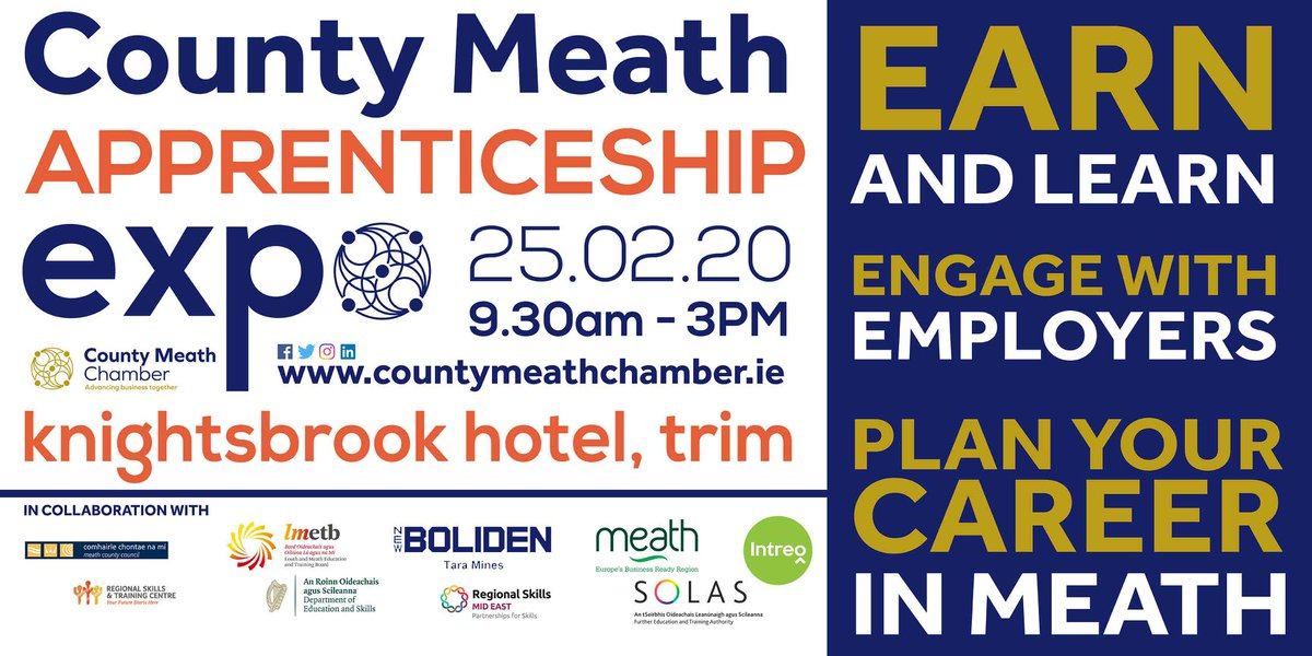 A great initiative by County Meath Chamber. For anyone considering an apprenticeship. Great to see @IHFcomms will be there to advise those interested in pursuing a career in the Hospitality Sector.  #Meath #Apprenticeship #Expo #earandlearn https://www.eventbrite.com/e/county-meath-apprenticeship-expo-2020-tickets-84126367229?utm-medium=discovery&utm-campaign=social&utm-content=attendeeshare&aff=esfb&utm-source=fb&utm-term=listing&fbclid=IwAR0PC0ThokTTFuvG7ltS1LRlNs4tpLMnaavsCJpwvVjZpO6QJe-tDVM83BA…