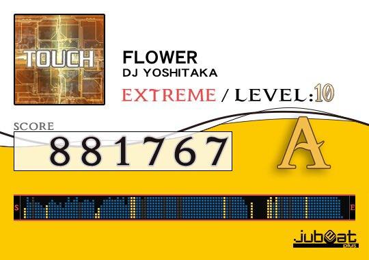 FLOWERをプレー! Score:881767 #jubeat_plus アイスバーすぎる