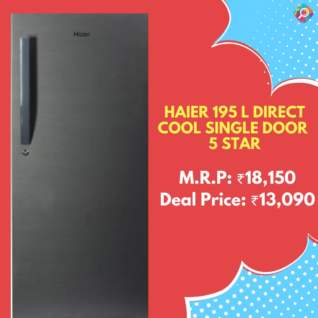 Buy @IndiaHaier  195 L Direct Cool Single Door 5 Star Refrigerator for Rs.13090 on @Flipkart    https://buff.ly/3c6wnHD    #shop  #offers  #deals  #sale  #discounts  #kitchenware  #shopping  #onlineshop  #bestprice  #savings  #kitchendecor  #Flipkart  #onlinesale  #TuesdayMorning  #Kitchen