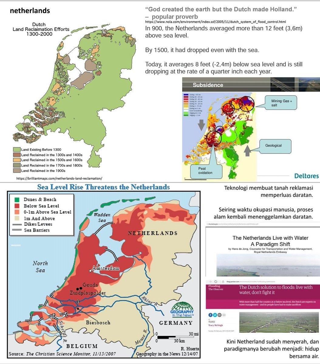 Bang Yos dan semua org yg puji2 Belanda. Faktanya skrg Belanda sudah menyerah kalah thd air dengan sistem poldernya. Kebanjiran. Lalu klaim2 ubah paradigma live with water sbg netherlands solution.  Pd belajar deh ke kp bajo, agats papua, kampung2 air di pontianak, balikpapan,dll pic.twitter.com/oRkHqQBNQR