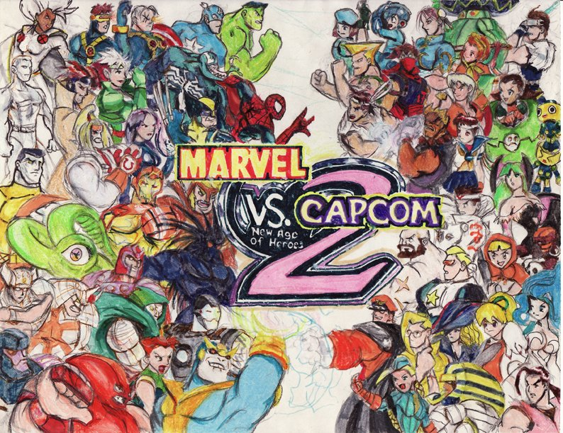 Happy 20th MVC2, repost of ancient fanart from around that time with everyone on it ah yes the turn of the century <br>http://pic.twitter.com/amXRuBNA2L