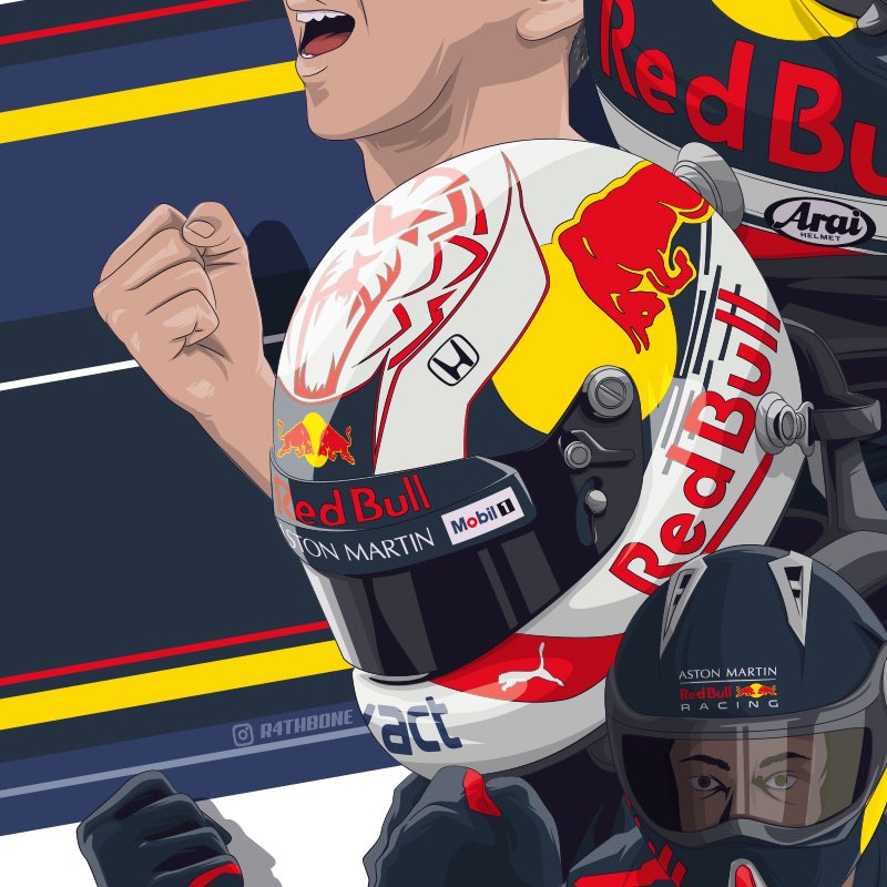 Close up detail of one of my illustrations I created last year for @redbull @redbulljapan @redbullracing as part of the 'Fans are the team' campaign that went live across Japan for the #JapaneseGP  #illustration #F1 #RedBull #Motorsport #PosterArt #CarArt #F1Testing #SkyF1