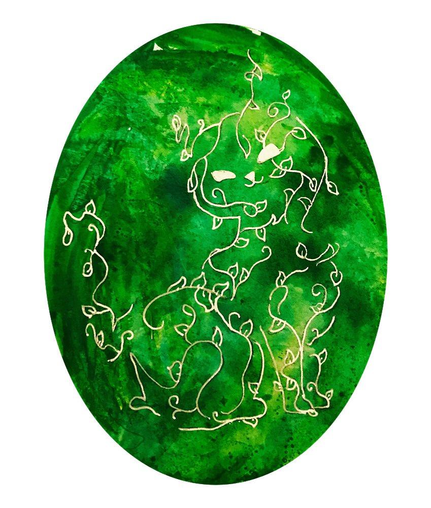 A jewel-toned Catmeo. . . #ink #inkwash #cat #green #ivy #cameo #art #design #illustration #artistsoninstagram #artist #lazyday #emerald #opal #artistsoftwitterpic.twitter.com/TC9QY63AT2