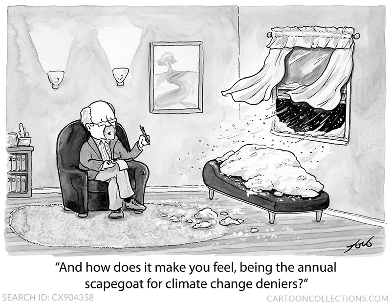 """""""And how does it make you feel, being the annual scapegoat for climate change deniers?"""" Cartoon by Tom Toro @t_b_toro -  - #climatechange #environment #cartooncollections #funny #cartoons #tnycartoons #snow"""