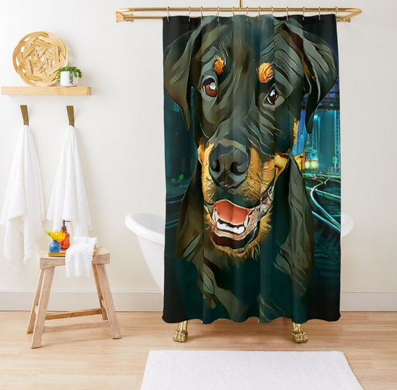 #Rottweiler  Pup Waiting for the #Train  #ShowerCurtain  - Customize your #Bathroom  Decor with Unique #ShowerCurtains , This ShowerCurtain Will Make The #Bathroom  come alive with Vibrant Colors, - Shower Curtain Size is 71 inches By 74 inches  http://bit.ly/RottweilerPupCurtain  …