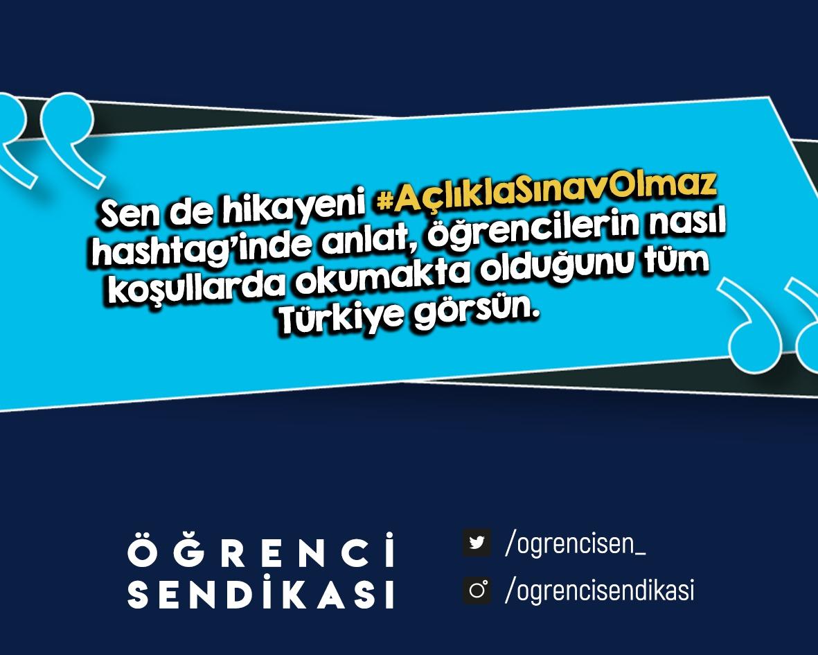 #AçlıklaSınavOlmaz diyenler sesini duyuruyor! Sen de hikayeni anlat, tüm Türkiye öğrencilerin hangi koşullar altında okumak zorunda kaldığını duysun. Bir imza ile destek olmayı da unutmayın: chng.it/k25gnrV2tQ