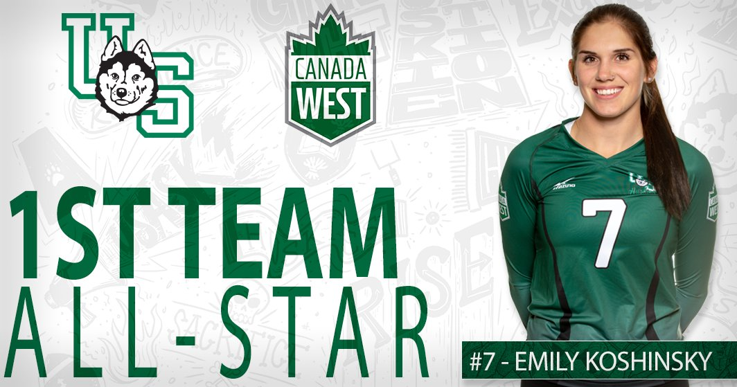 After breaking her own program record for kills in a season, Emily Koshinsky is a @CanadaWest First Team All-Star.  http://bit.ly/2HYuYVu  #HuskiePridepic.twitter.com/rhCGQNDe6e