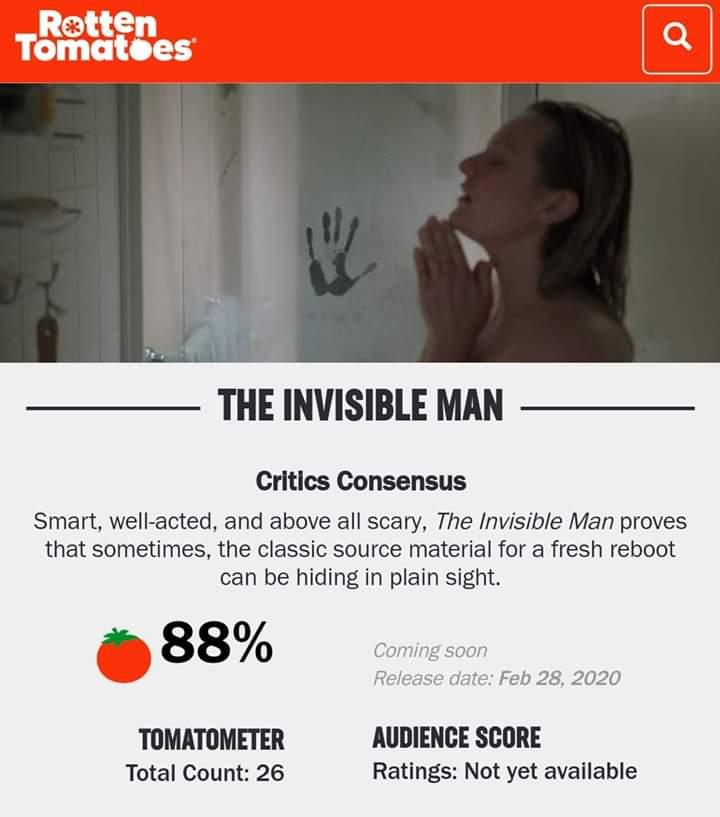 #MovieNews La película #TheInvisibleMan abre con un 88% de aprobación en #RottenTomatoes  La película se estrena este viernes.pic.twitter.com/b2xnKrHW9T